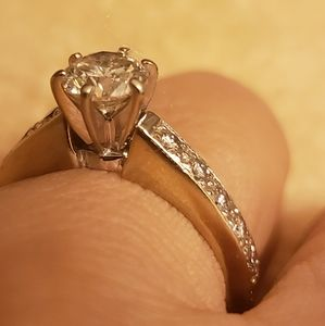 Solid gold diamond engagement ring